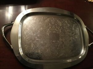 Large Sheridan Footed Butlers Silverplate Tray With Handles 23 Long 13 Wide