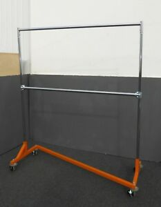 Industrial Heavy Duty Adjustable Portable Clothes Dry Hanger Rolling Rack Rail