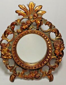 Vintage Table Top Dresser Angel Cherub Design Mini Mirror Vanity Frame