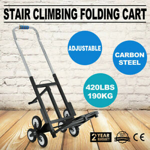 Portable Stair Climbing Folding Cart Climb Moving Up To 420lb Adjustable Handle