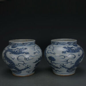 10 Chinese Old Porcelain Yuan Blue White Hand Painting Dragon Vase A Pair