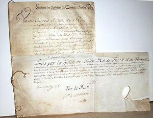 Rare 1780 16 Page French Royal Court Minutes Signed By King Louis Xvi Parchment