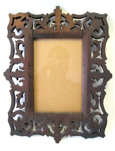 Vintage Jigsaw Cut Out Picture Frame Old Wood Nr