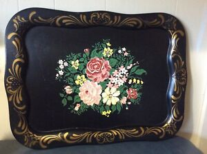 Large Painted Tole Ware Metal Serving Tray 21 X 16 Black Gold Floral
