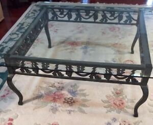 Vintage Wrought Iron Scroll Coffee Table Verdigris Finish Beveled Glass Top