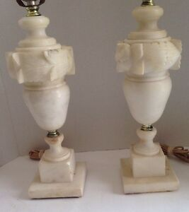 Hollywood Regency Alabaster Marble Urn Lamps Mid Century Neo Clissical Vintage