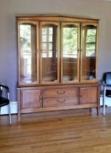 Mid Century Modern Breakfront China Curio Cabinet 2 Piece Delivery Arranged