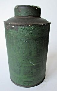 Antique Chinese Canister Primitive Old Dry Green Paint 5 Spice Tin Caddy Tea