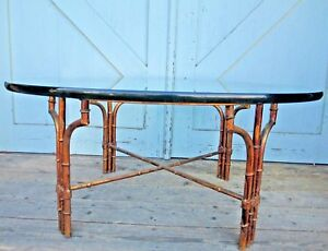 Coffee Table Modern Faux Bamboo Gilded Metal Chippendale Mid Century 36 Glass