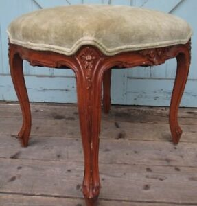Walnut Victorian Cabriole Leg Foot Stool Ottoman Tall Bench Shell Carved 20x19