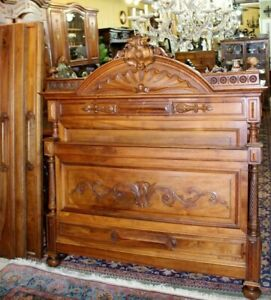 Antique Walnut French Gothic Queen Size Bed Rails 1880 Bedroom Furniture
