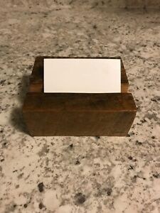 Rustic Business Card Holder Reclaimed Barn Wood Oak Handcrafted