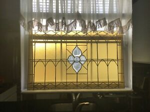 Vintage Antique Style Stained Glass Panel 19 6 X 31 6 Gothic Art Deco Nouveau