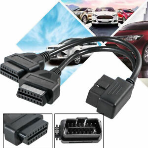 12 Obd2 Obd Ii Splitter Extension 16 Pin Cable Male To 2 Female Cord Adapter