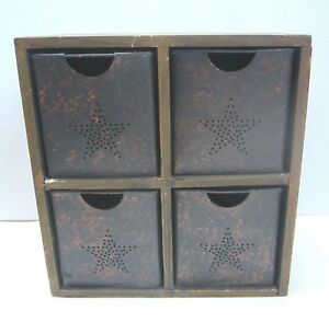 Vintage Style Primitive Wood Box Organizer With Drawers Crafts Sewing 4 Drawers