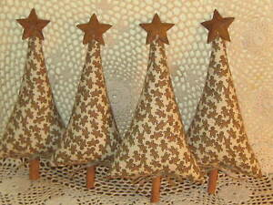 4 Primitive Country Christmas Gingerbread Fabric Trees Handmade Home Decor