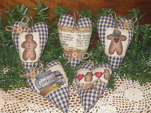Set Of 5 Countryblue Handmade Fabric Christmas Gingerbread Heart Ornaments Decor