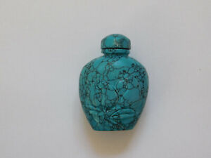 C 19th Vintage Antique Chinese China Turquoise Stone Hand Carved Snuff Bottle
