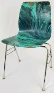 Mid Century Molded Plywood Chair Retro Hand Painted Psychedelic Vintage