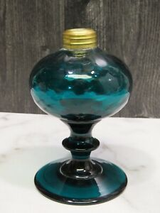 Antique Pairpoint Small Glass Oil Lamp Teal 5