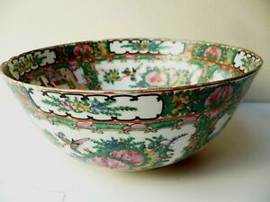 Beautiful Antique Chinese Hand Painted Famile Rose Hug Punch Bowl
