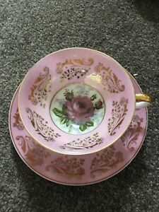 Royal Sealy Bone China Teacup Saucer Pink Rose
