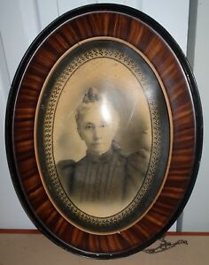 Antique Victorian Era Tiger Eye Woman With Spectacles Oval Picture Frame