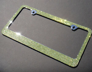 Bling Green Color Crystal Rhinestone License Plate Frame cap aa