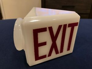 Vintage Exit Sign Antique Art Deco Double Sided Original Glass Light Bulb Flange