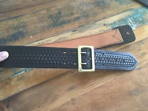 Tex Shoemaker Black Basketweave Police Duty Belt 28 28 To 32 1 2 Half Lined