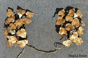 Pair Of Vintage French Country Gold Tole Wall Light Floral Sconces Made In Italy