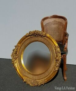 Vintage French Provincial Gold Round Ornate Wall Mantle Mirror