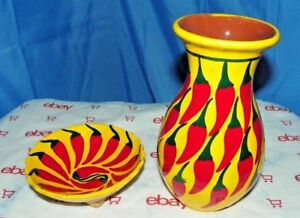 Chili Pepper Pottery Wash Basin And Bowl Set From Mexico