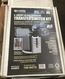 New Reliance 8 Circuit 30 Amp Generator Transfer Switch Kit Up To 7500 Watt