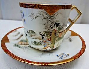 Vintage Japanese Porcelain Cup And Saucer Handpainted Design Gilt Woman Pagod F