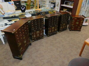 Vtg Group Of 5 Asian Cherry Medicine Chest Apothecary Cabinet Set Korean Chinese