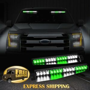 34 32 Led Car Emergency Warning Visor Split Deck Strobe Light Bar Green White