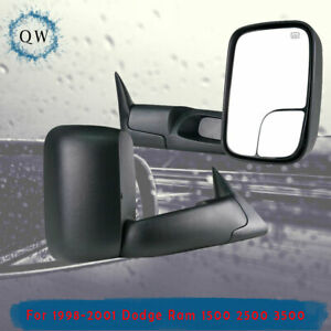 Tow Mirrors Fit 1998 2001 Dodge Ram 1500 98 02 2500 3500 Power Heated Pair 2p