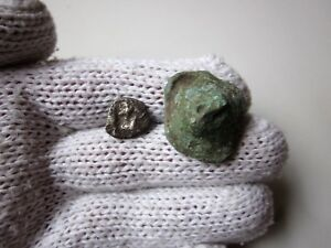 Very Rare Ancient Lot Of 2 Silver And Bronze Celtic Roman Proto Money
