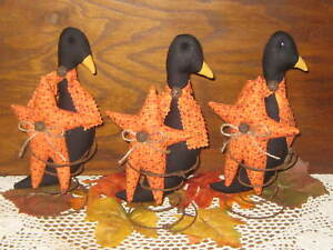3 Fall Country Stars Black Crows Tucked In Rusty Springs Autumn Home Decor