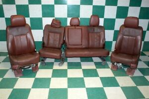 11 16 F 250 King Ranch Brown Leather Dual Power Bucket Seats Backseat Bench Oem