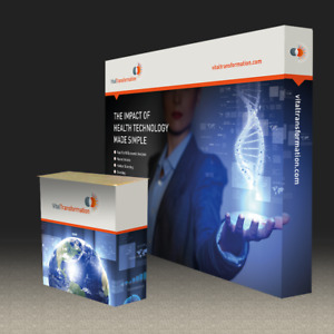 10ft Pop Up Stand Tension Fabric Trade Show Display Back Wall With Custom Print