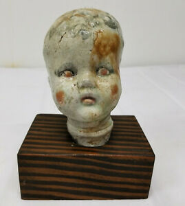 Antique Vintage Creepy Pottery Porcelain Doll Head Statue Figure Stand Base