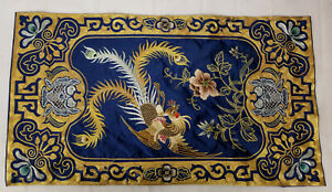 Antique Fine Chinese Gold Silk Thread Panel Embroidery Textile Altar Table