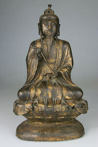 Antique Superb Huge Chinese Bronze Buddha Statue Carved Gilt Ming 16th 17th C