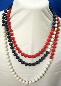 Vintage 43 inch Red White Blue Round Strand Bead String Necklace Plastic 223 $12.99