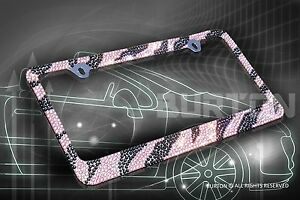 Bling Pink Black Zebra Designed Diamond License Plate Frame Cap Screw