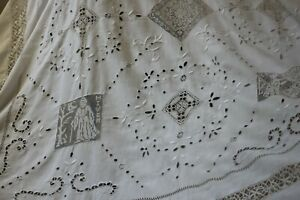 Rare Antique French Fil Bed Cover Curtain Tablecloth French 4 Seasons Hand Made