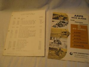 1965 Arps Rear Blades Price List And Brochure With Ford Tractors