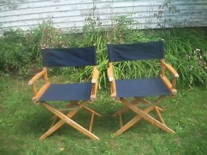 Vintage 2 Two Mcm Wooden Folding Directors Chair Navy Canvas Solid